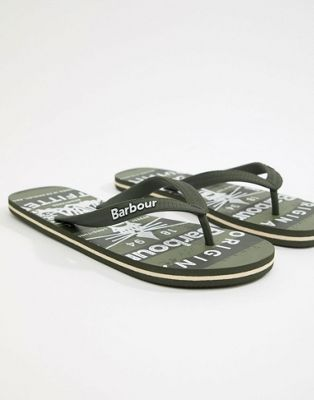 Barbour Beacon Flip Flop in Green