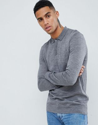 Barbour knitted merino long sleeve polo in grey
