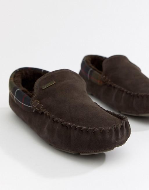 Barbour - Monty - Pantoffels met voering van imitatiebont in bruin