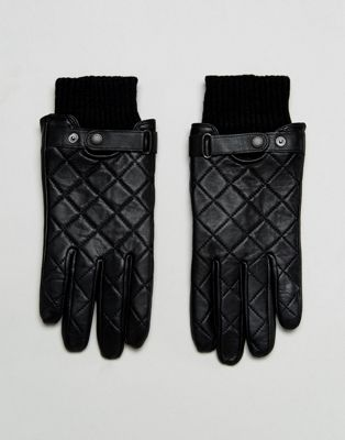 Barbour Qulited Leather Gloves in Black