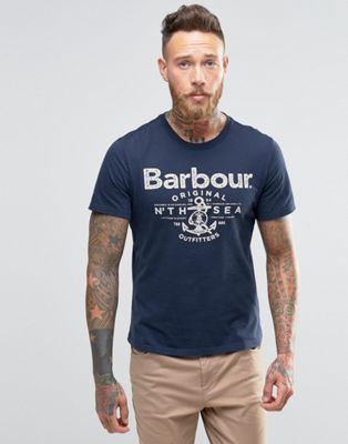 Barbour T-Shirt With Anchor Print In Navy