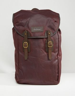 Barbour Wax Leather Backpack in Burgundy