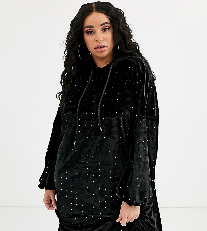 Бархатное платье-худи с отделкой ASOS DESIGN Curve-Черный