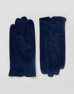 Barneys Marineblauwe suède handschoenen