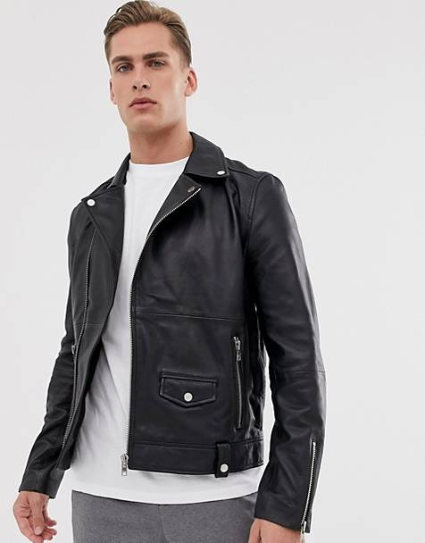 Barneys Originals - Giacca biker in vera pelle con zip