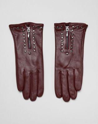 Barney's Originals - Guanti in vera pelle con zip e borchie
