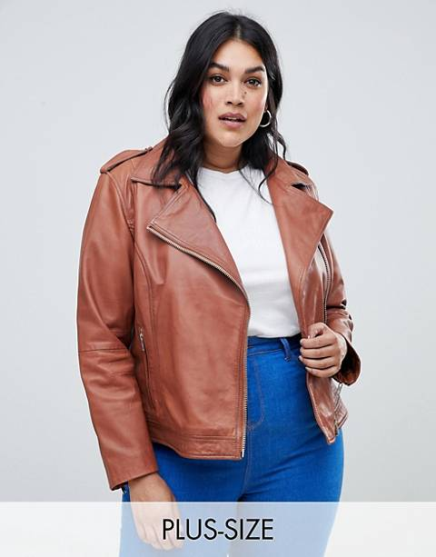 Barney's Originals Plus Leather Biker Jacket