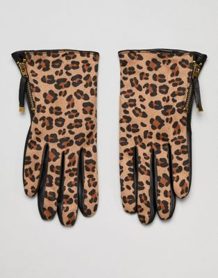 Barney's Originals Real Leather And Leopard Print Texture Gloves