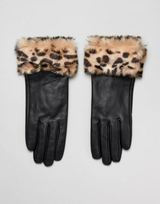Barney's Originals Real Leather Gloves With Faux Fur Leopard Print Trim