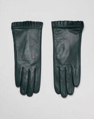 Barney's Originals Real Leather Gloves With Pleated Detail