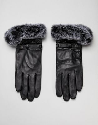 Barney's Originals Real Leather Gloves With Quilting And Faux Fur Trim