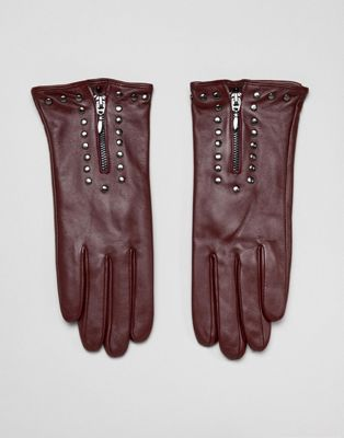 Barney's Originals Real Leather Gloves With Zip And Studs