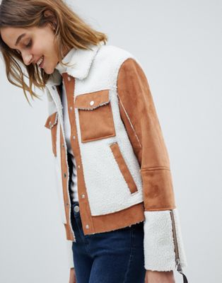 Barney's Originals trucker jacket in faux fur suede and faux fur shearling