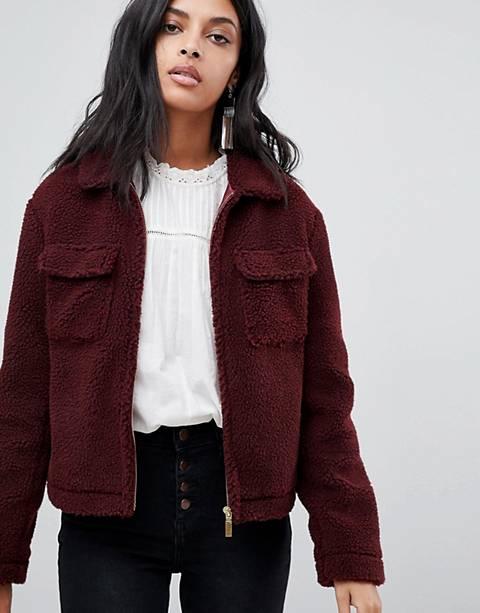 Barney's Originals trucker jacket in teddy faux fur