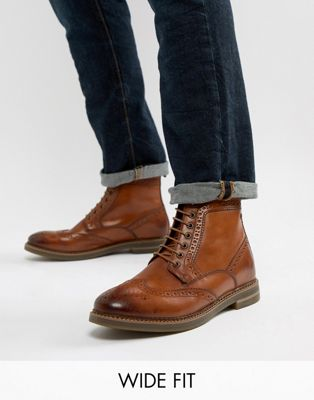 Base London Wide Fit Hurst brogue boots in tan