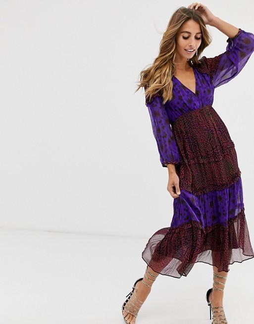 BA&SH midi dress in mix and match print