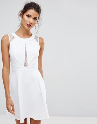 BCBGeneration Printed Lace Detail White Dress