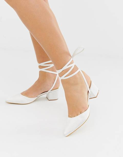 Be Mine Bridal Anya ivory satin mid heeled shoes