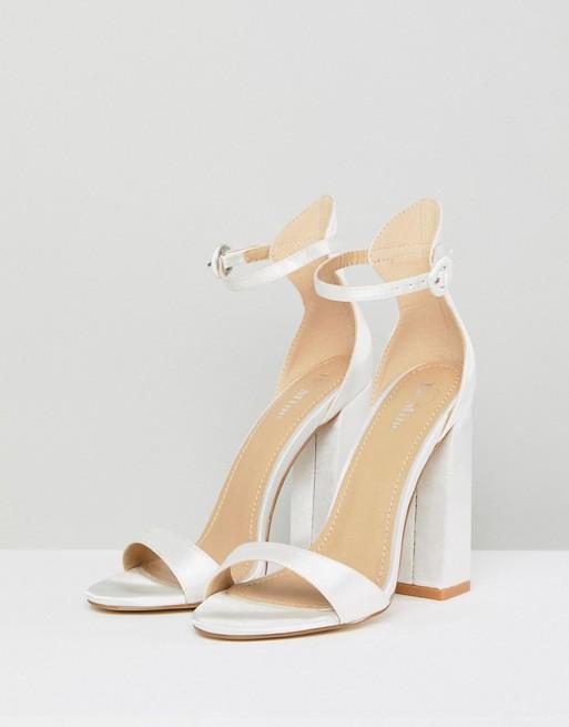 a1535945697 Be Mine Bridal Lauren Ivory Satin Flared Block Heeled Sandals