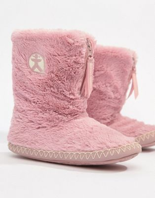 Bedroom Athletics Marylin faux fur slipper boot in pink