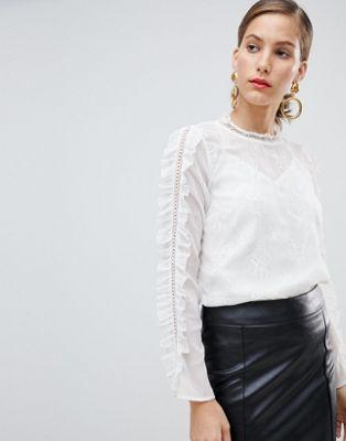 Белая блузка с вышивкой River Island