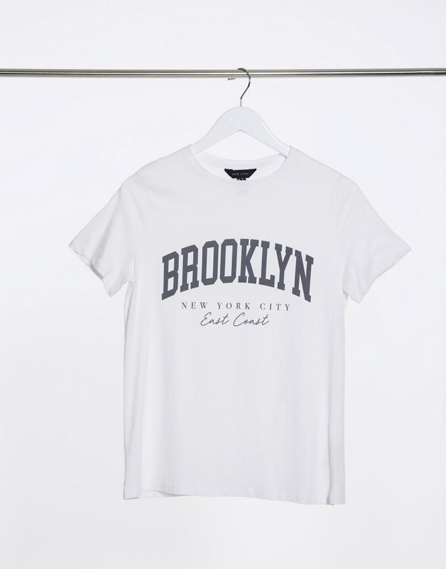 Белая футболка с надписью «Brooklyn» New Look-Серый