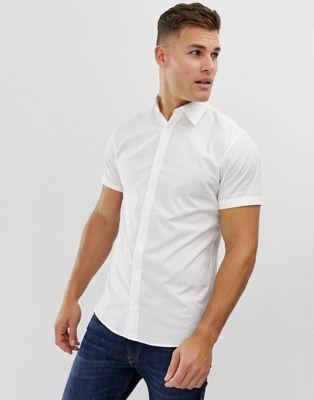 Белая рубашка из эластичного хлопка с коротким рукавом Jack & Jones