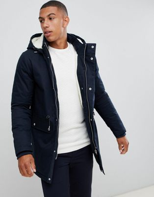 Bellfield Borg Lined Parka With Hood In Navy