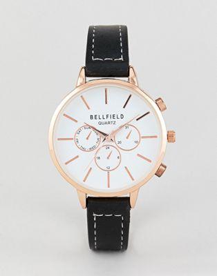 Bellfield - Chronograaf horloge met gouden behuizing en zwart bandje