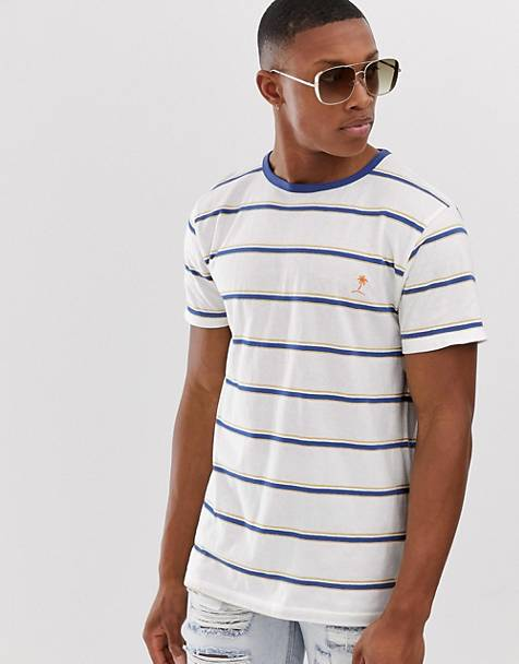 Bellfield - Gestreept skater T-shirt in wit