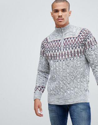 Bellfield – Kabelstickad tröja med fairisle-mönster och dragkedja upptill