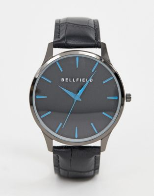 Bellfield mens black dial watch with blue metallic baton.