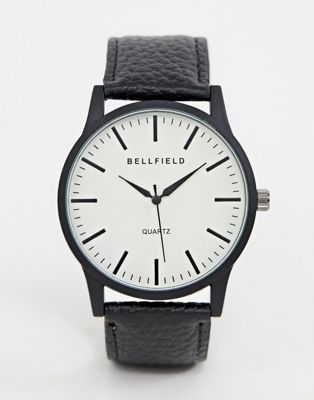 Bellfield mens cream dial watch with black strap
