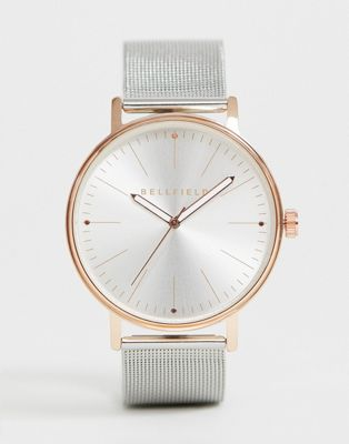 Bellfield mens silver mesh bracelet watch with rose gold tone case
