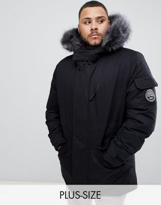 Bellfield parka with faux fur hood in black