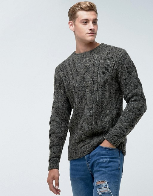 Bellfield Sweater In Cable Knit In Gray