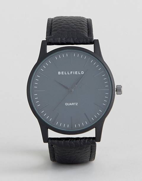 Bellfield – Uhr mit rundem, schwarzen Zifferblatt