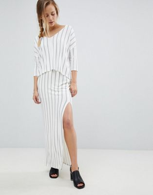 Image 1 of Bellfield Vana Pinstripe Split Side Maxi Skirt