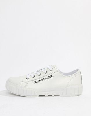 Белые кожаные кроссовки Calvin Klein Blaza