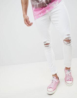 Белые рваные супероблегающие джинсы Jaded London