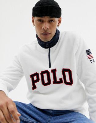 Изображение 1 из Белый свитшот с молнией и логотипом-аппликацией Polo Ralph Lauren