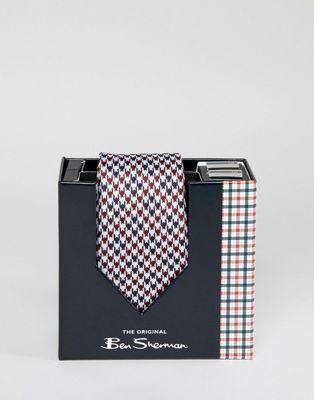 Ben Sherman - Ensemble boutons de manchettes et cravate en soie à carreaux