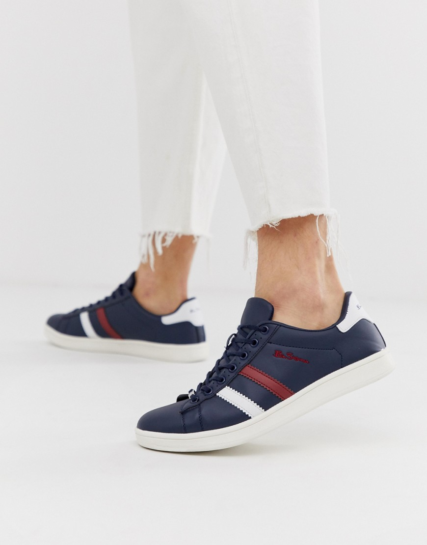 Ben Sherman Gestreepte sneakers in marineblauw