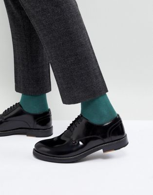 Ben Sherman Hi Shine Derby Shoes In Black Leather