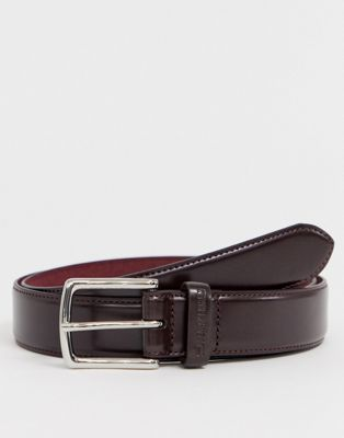 Image 1 of Ben Sherman Skinny Leather Belt Brown