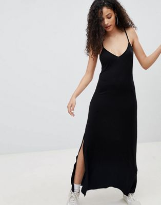 Bershka cami maxi dress in black