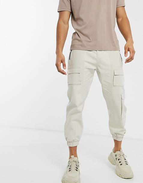 Bershka cargo pants in light beige