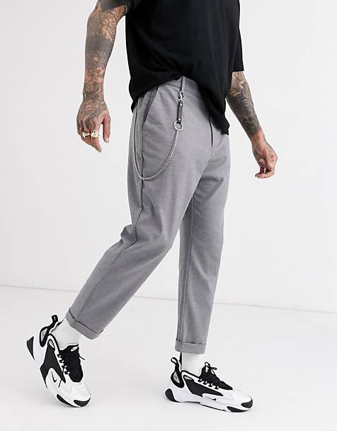 Bershka carrot fit pants with chain in gray