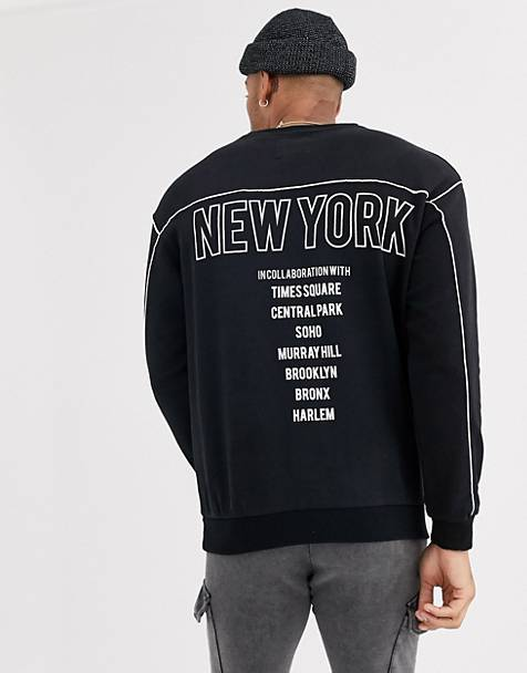 Bershka crew neck sweat with new york in black