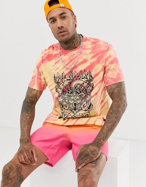 Bershka Def Leppard print t shirt in tie dye